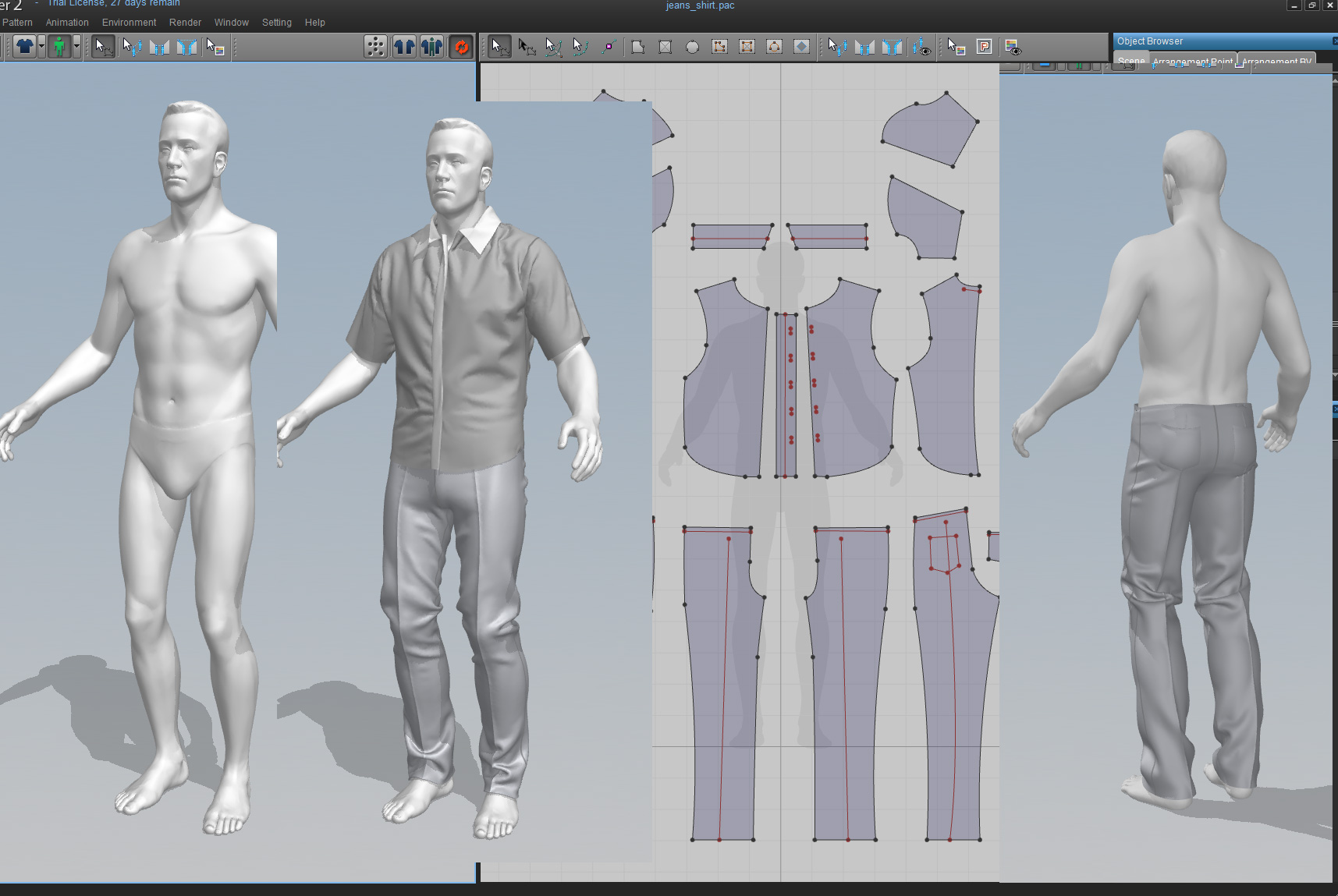 Marvelous designer right between cutting fabric and 3d for Virtual suit builder