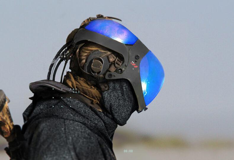 Person wearing a 3D helmet