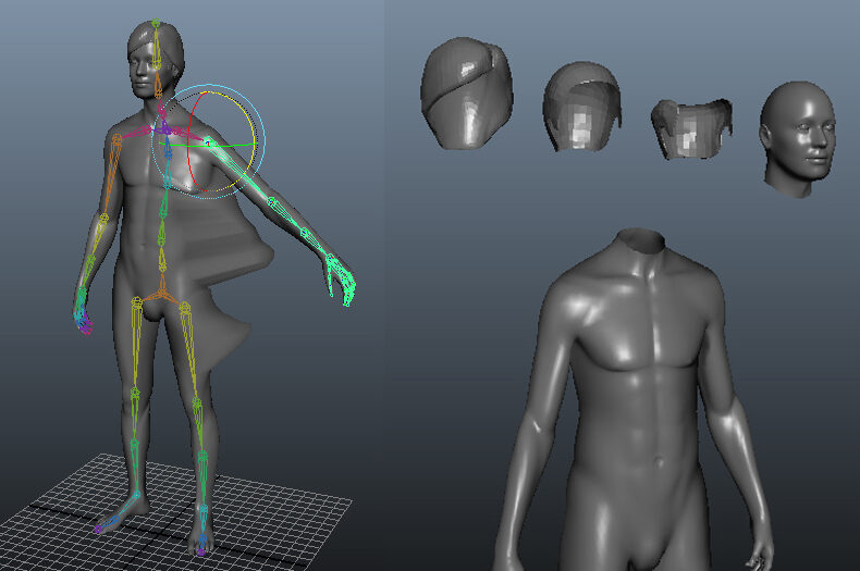 Motion capture 3d models of a body