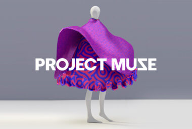3d avatar with pink dress and text on top of it