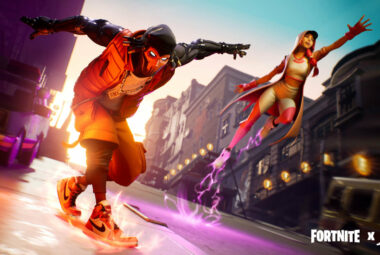 game characters jumping on a street wearing neon outfits