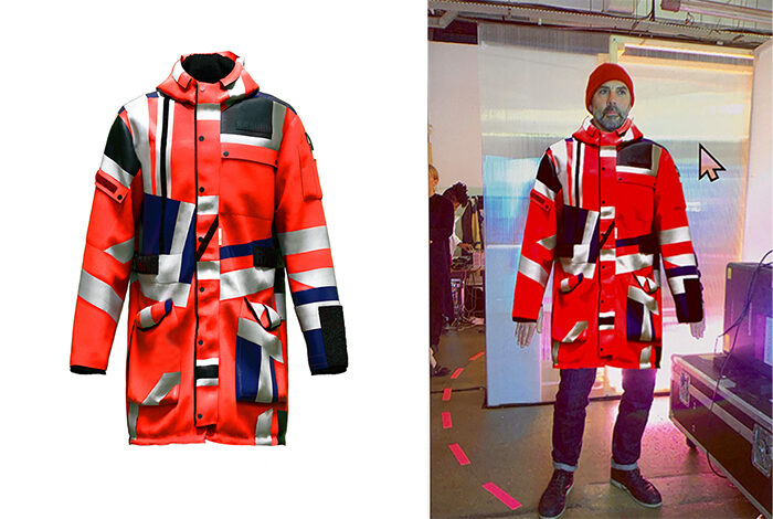 Man trying out virtual parka jacketin front of a backdrop in a store