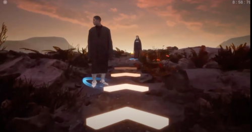 Game Character standing on a mountain with holographic arrows in front of him
